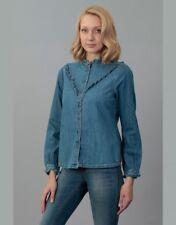 Tom Tailor Donna Camicia di Jeans Camicetta Tunica Blu Gr. S