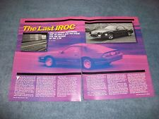 "1990 Camaro IROC-Z Drive Report Info Article ""the Last IROC"""