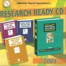 American Payroll Association's Research Ready CD 2003 PC MAC Source Tax Laws +