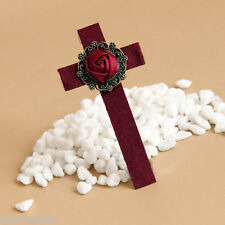 Handmade 3.3inch Flower Rose Cross Hair Clip Pin Barrette Cosplay Vampire Gothic