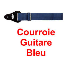Courroie Sangle couleur BLEU SOMBRE pour Guitare avec Boucle de Réglage