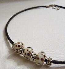Brown White Spotted Animal Print European Spacer Beads on Brown Leather Necklace