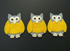 3 Felt Owls, Die Cut Craft Embellishments. Can be made in different colours.