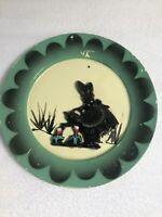 VTG HEMCOWARE Mellmac Wall Plate Green/Black Sillouette Girl w/Bonnet **RARE**