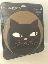 """Cynthia Rowley Mouse Pad 8"""" Round Non-Skid Rubber Backing Black Cat"""