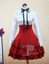 Sweet White Lolita Blouse & gothic Black/Blue Lolita fashion high waist skirt