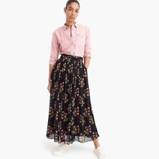 NWT J CREW POINT SUR Maxi Skirt Crinkled Chiffon Navy Multicolor Floral Size 00