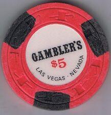 Gambler's $5.00 H&C Mold Casino Chip Las Vegas Nevada