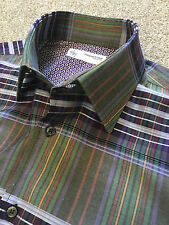 Una vez usado poggianti 1958 Púrpura Cheque Lunares D Puño Camisa coste de 15.5 £ 145
