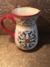 New Bobby Flay Red Spanish Style 107oz Seville Hand Painted Pitcher/ Vase