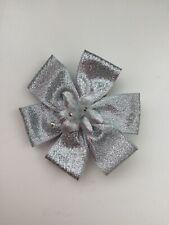 """Wedding Bridal Flower Girls Ladies 3"""" Sparkly Silver Flower Hair Clip Fascinator"""