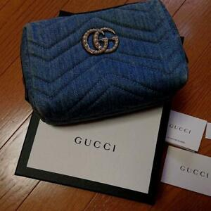 GUCCI GG Marmont Cosmetic Pouch Bag Denim Light Blue Italy Authentic JPN F/S