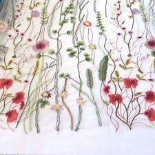 White Flowers Embr Tulle lace Dress Fabric Bridal Tutu#10WE97B