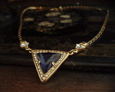 Vintage Deco Clear Crystal and Blue Quartz Triangle Drop Gold Plated Necklace