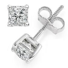 Screw Back 1.30 CT 14K White Gold Over Princess Diamond Solitaire Stud Earring