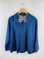 Extra Black Pepper Women's Denim Shirt Size 18 Blue Long Sleeve Casual Button Up
