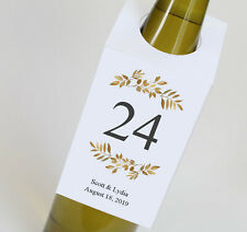 Wedding Wine Bottle Table Numbers, Personalized Wine Tags