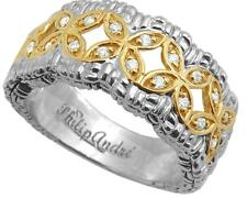 Philip Andre 18K Gold & Sterling Silver 1/4ct TW Diamond Ring Size 5