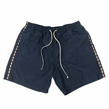 Classic Aquascutum Navy / Trim Check 100% Polyamide Swim Shorts Size Medium M