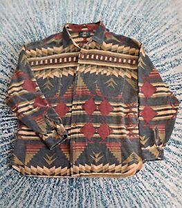 ORVIS Navajo Aztec Pattern Men's Shirt Sz L Muted Colors Soft Cotton
