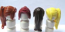 Lego 4 Niña Mujer Minifigura Peluca De Pelo Largo Cola de Caballo Rojo Marrón Rubio Jengibre