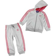 Adidas Original Traje de casa Chándal Suéter + pantalón bebé gris rosa 74