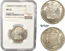 AC402, Mexico, Charles IV, 2 Reales 1782 Mo FF, Mexico City, Silver, NGC MS63