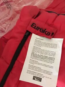 NWT Eureka Red Black Adult Size Sleeping Bag with Dust Cover
