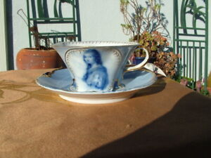 VINTAGE DRESDEN PORCELAIN PORTRAIT  BLUE CUP AND SAUCER SET