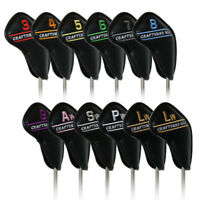 12pcs Black 3#-Lw Golf Iron Covers Headcovers For Cleveland Callaway Taylormade