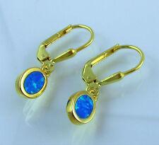 Brisuren Ohrringe 925 Silber Vergoldet Blau Opal Damen Mädchen Kinder L 24mm