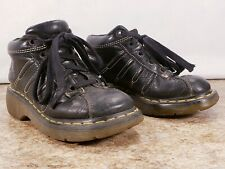 Dr Doc Martens 4 Air Wair Black White Thread 4 Eyelet Lace Up  Ankle Boot