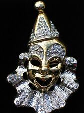 SILVER GOLD TONE PLAY MUSICAL THEATER DRAMA MIME JESTER CLOWN FACE PIN BROOCH