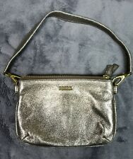 FOSSIL Triple Zipper Taupe Metallic Gold Brown Small Handbag Clutch Purse Bag