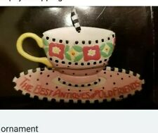 Mary Engelbreit Ornament The Best Antiques Are Old Friends Teacup Nib