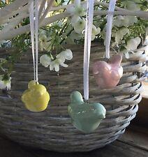 3 X China Bird Decorations Hanging Pastel Vintage Easter Tree Pink Yellow Green