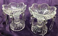 Pair Vintage Pressed Glass Sawtooth Edge CandleStick Holders W/ Prisms BEAUTIFUL