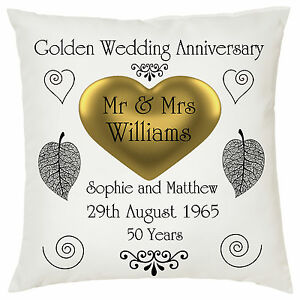 Golden Wedding anniversary cushion - cover only - personalised names