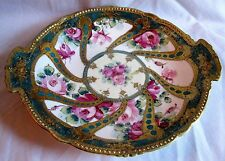 ANTIQUE HP & ENAMELED NIPPON 2-HANDLE CAKE DECORATIVE PLATE HEAVY GOLD TRIM