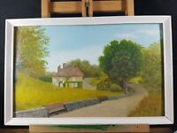 LOWESTOFT (SUFFOLK) PARK PATH SCENE COLOURFUL OIL PAINTING MONOGRAMMED LN
