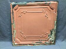"Antique Decorative Tin Metal Ceiling 2' x 2' Shabby Vtg 24"" Sq Chic Old 13-20B"