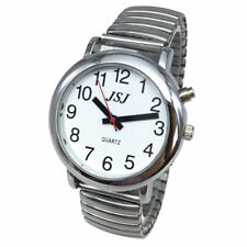 French Talking Watch with Alarm Expanding Bracelet, Silver Color, White Face