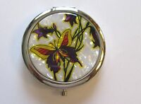 Mirror/Compact-Butterfly Flower - yellow purple white background  silver back