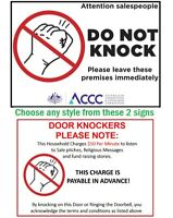 NO DOOR KNOCKERS HAWKERS SALES PEOPLE SIGN - Removable & Reusable - 2 Styles