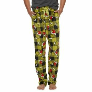 Men's Dr. Seuss The Grinch Santa Lounge Pants Size S - M - XL NWT Original $36