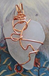 Chesapeake Bay Surf White Seaglass copper wire wrapped pendant / ornament