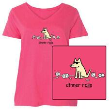 Teddy the Dog Ladies T Shirt Dinner Rolls Curvy V Neck Tee Toilet Paper Ltd Ed