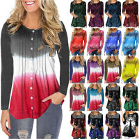 Plus Size Womens Boho Floral Tunic Tops Blouse Casual Loose Long Sleeve T-Shirt