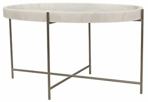 """33"""" Cocktail Coffee Table Oval Metal Base Antique Silver Finish White Stone Top"""