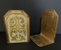 Vintage Italian Florentine Florentia Gold Gilded Wood Bookends